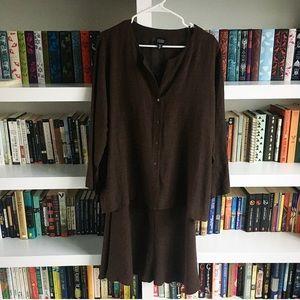 Like New Brown Eileen Fisher Linen Skirt Set